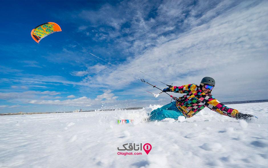 کایت سواری در برف