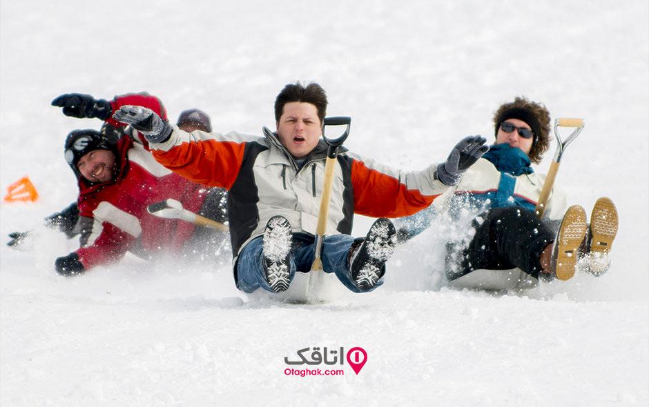 بیل سواری در برف